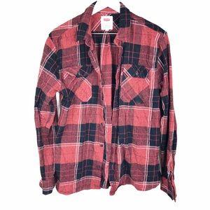 Levi's Women's Red Black Plaid Button Down Shirt